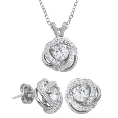 jcpenney.com | DiamonArt® Cubic Zirconia Love Knot Pendant Necklace & Earring Set