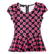 by&by Girl Posies-and-Peplum Top - Girls 7-16