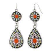 Decree® Silver-Tone Multicolor Teardrop Earrings