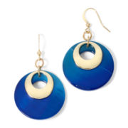 Mixit™ Silver-Tone Blue and Teal Orbital Shell Drop Earrings