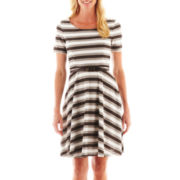 Studio 1® Short-Sleeve Striped Fit-and-Flare Dress