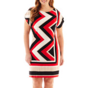 Studio 1® Doman-Sleeve Chevron Print Dress - Plus