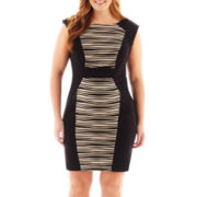 Studio 1® Cap-Sleeve Print-Panel Sheath Dress - Plus