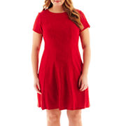 Studio 1 174 Cap Sleeve Textured Fit And Flare Dress Plus