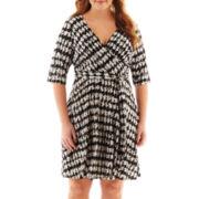 Studio 1® 3/4-Sleeve Houndstooth Wrap Dress - Plus
