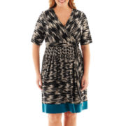 Studio 1® Elbow-Sleeve Tie-Waist Print Dress - Plus