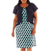 Dana Kay Polka Dot Print Dress with Jacket - Plus