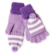 Toby Striped Knit Flip-Top Gloves - Girls 6-16