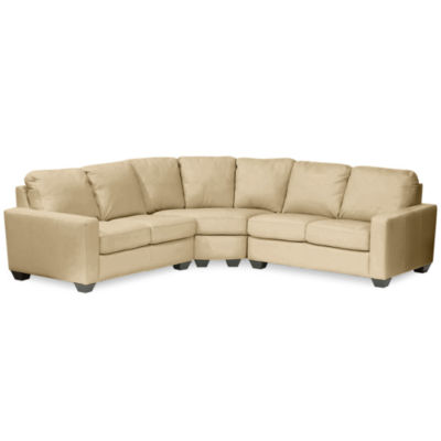 jcpenneycom leather trackarm 3pc loveseat sectional