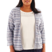 Alfred Dunner® Ann Arbor 3/4-Sleeve Space-Dye Layered Sweater - Plus