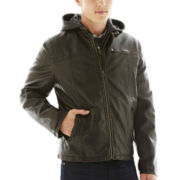 Levi's® Faux-Leather Racer Jacket with Hood