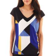 Worthington® Short-Sleeve Blocked Knit V-Neck Tee - Tall
