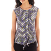 Worthington® Sleeveless Tie-Waist Blouse