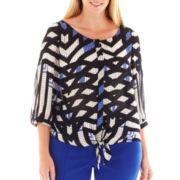 Worthington® Sleeveless Tie-Front Blouse - Plus