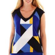 Worthington® Short-Sleeve Blocked Knit V-Neck Tee - Plus