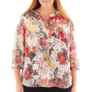 Liz Claiborne® Long-Sleeve Button-Front Blouse - Plus