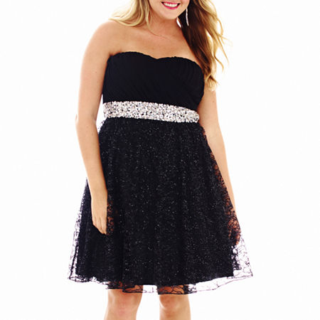 My Michelle Strapless Embellished Lace Dress - Plus