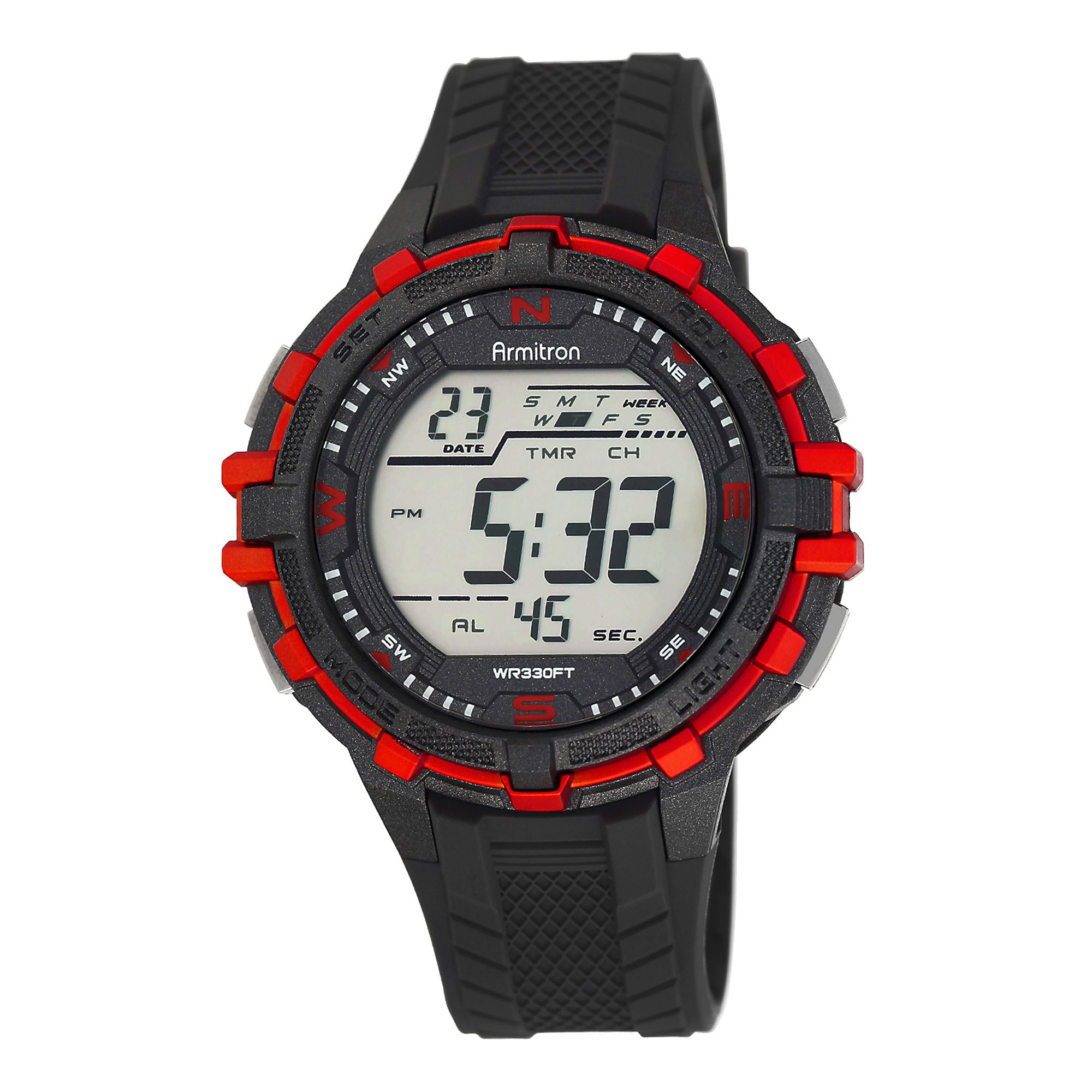 Armitron ProSport Mens Black and Red Resin Chronograph Digital Watch 40/8327RED
