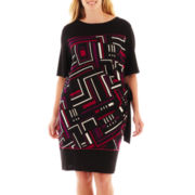 R&K Originals® Short-Sleeve Print Side-Tie Dress - Plus