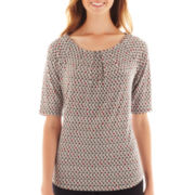 Liz Claiborne® Elbow-Sleeve Pleated-Front Knit Top - Tall