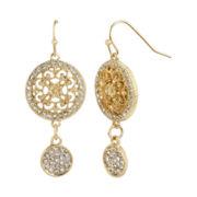 Worthington® Gold-Tone Crystal Pavé Drop Earrings