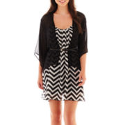 Heart & Soul® Belted Dress with Cardigan