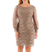 Scarlett Long-Sleeve Lace and Chiffon Dress – Plus