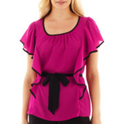 Alyx® Belted Flutter-Sleeve Blouse - Petite