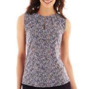 Liz Claiborne® Sleeveless Split-Neck Keyhole Top - Tall