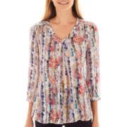 Liz Claiborne® 3/4-Sleeve V-Neck Print Blouse