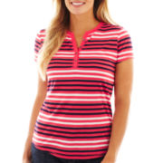 Liz Claiborne Short-Sleeve Striped Henley Tee