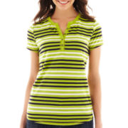 Liz Claiborne® Short-Sleeve Striped Henley Tee