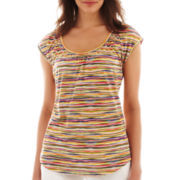 Liz Claiborne Short-Sleeve Striped Peasant Top