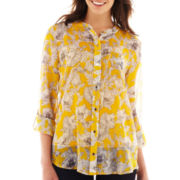 Liz Claiborne® 3/4-Sleeve Roll-Tab Button-Front Blouse with Cami