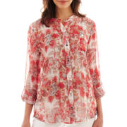 Liz Claiborne Long-Sleeve Button-Front Blouse with Cami