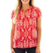 Liz Claiborne® Short-Sleeve Sheer Peasant Blouse