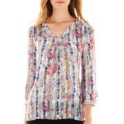 Liz Claiborne® 3/4-Sleeve V-Neck Print Blouse - Tall