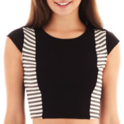XOXO® Cap-Sleeve Ponte Knit Crop Top
