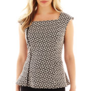 Worthington® Asymetrical Zip-Front Peplum Top - Petite