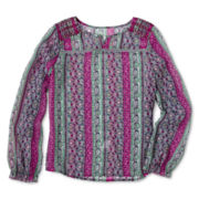 Arizona Long-Sleeve Print Chiffon Top - Girls 6-16 and Plus