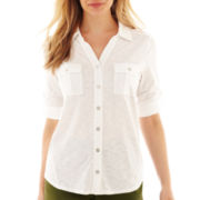 Liz Claiborne® Elbow-Sleeve Roll-Tab Button-Front Top - Petite