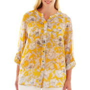 Liz Claiborne Long-Sleeve Button-Front Blouse with Cami - Plus