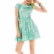 Be Smart Cap-Sleeve Sequin Dress