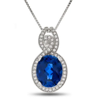 jcpenney.com | Lab Created Blue & White Sapphire Sterling Silver Pendant Necklace