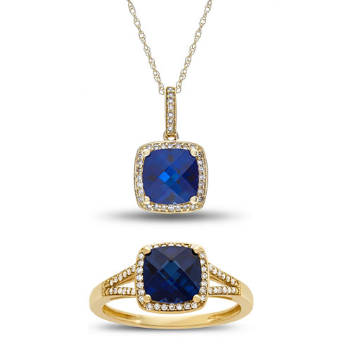 Womens 2-pc. Blue Sapphire 10K Gold Jewelry Set