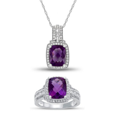 jcpenney.com | Genuine Amethyst & Lab Created White Sapphire Sterling Silver 2-pc Jewelry Set