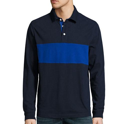 St. John's Bay® Long-Sleeve Striped Polo