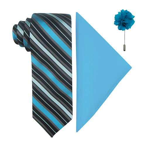 JF J. Ferrar® Fashion Stripe Tie, Pocket Square and Lapel Pin Set