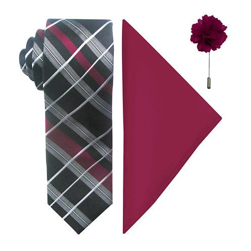 JF J. Ferrar® Fashion Grid II Tie, Pocket Square and Lapel Pin Set