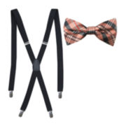 JF J. Ferrar® Fashion Plaid Bow Tie and Suspender Set